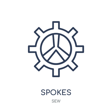 Spokes icon. Spokes linear symbol design from Sew collection. Simple outline element vector illustration on white background. Illustration