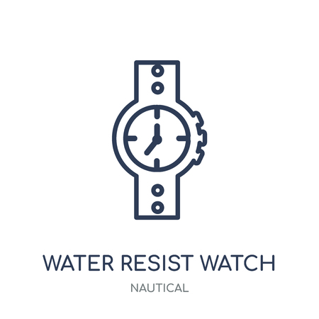 Water Resist Watch icon. Water Resist Watch linear symbol design from Nautical collection. Simple outline element vector illustration on white background.
