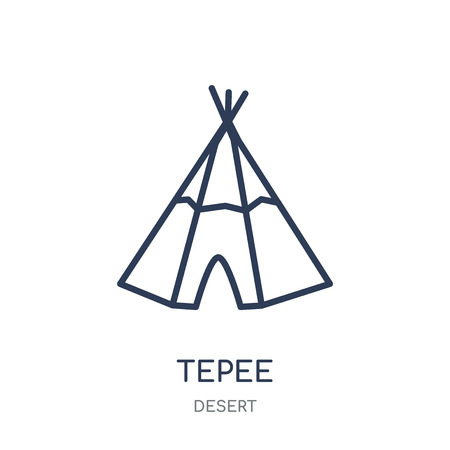 Tepee icon. Tepee linear symbol design from Desert collection. Simple outline element vector illustration on white background. Foto de archivo - 111821851