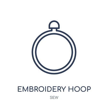 Icône de cerceau de broderie. Conception de symbole linéaire de cerceau de broderie de la collection Sew. Illustration vectorielle de contour simple élément sur fond blanc.