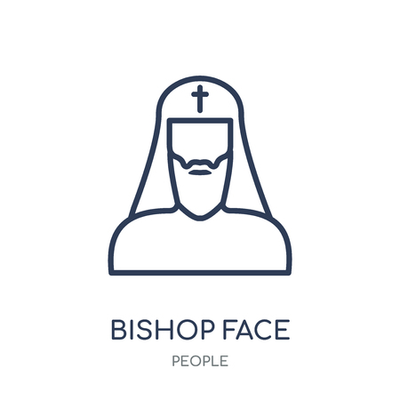 Bishop face icon. Bishop face linear symbol design from People collection. Simple outline element vector illustration on white background. Vetores