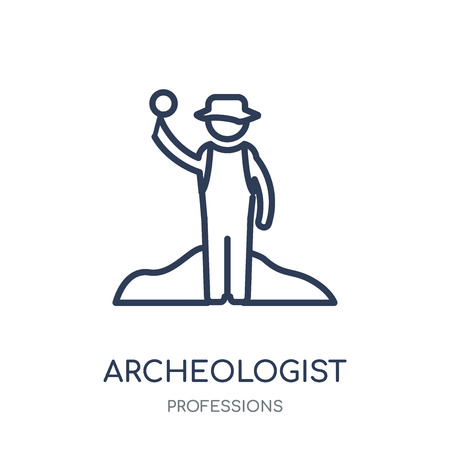Archeologist icon. Archeologist linear symbol design from Professions collection. Simple outline element vector illustration on white background. Illustration
