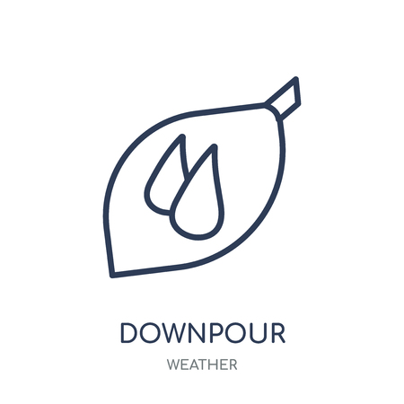 Downpour icon. Downpour linear symbol design from Weather collection. Simple outline element vector illustration on white background.