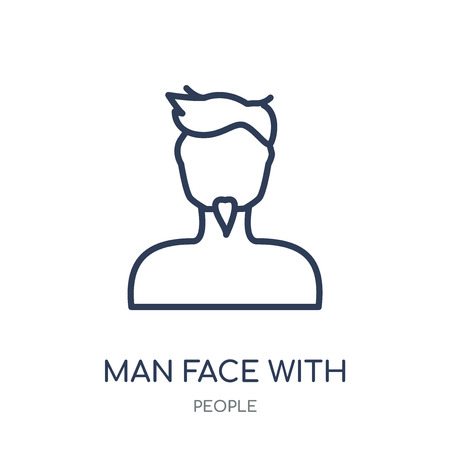 Man face with goatee icon. Man face with goatee linear symbol design from People collection. Simple outline element vector illustration on white background. Illustration