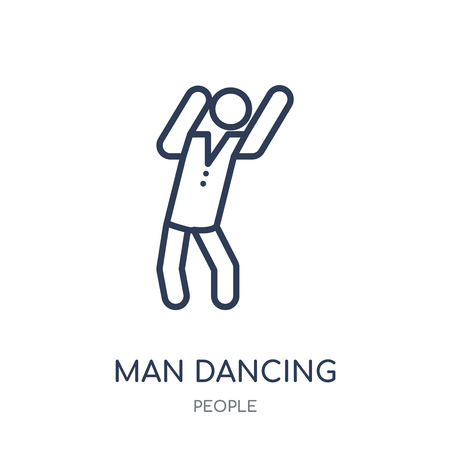 Man Dancing icon. Man Dancing linear symbol design from People collection. Simple outline element vector illustration on white background.