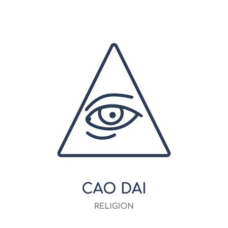 Icône de Cao dai. Conception de symbole linéaire Cao dai de la collection Religion. Illustration vectorielle de contour simple élément sur fond blanc.