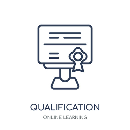 Qualification icon. Qualification linear symbol design from Online learning collection. Standard-Bild - 111821764