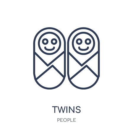 Icône de jumeaux. Conception de symboles linéaires jumeaux de la collection People. Illustration vectorielle de contour simple élément sur fond blanc. Vecteurs