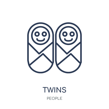 Twins icon. Twins linear symbol design from People collection. Simple outline element vector illustration on white background.