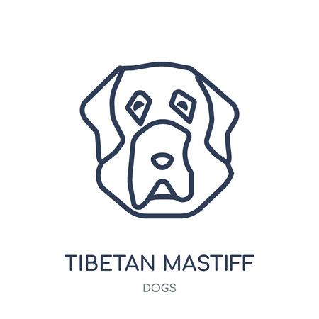 Tibetan Mastiff dog icon. Tibetan Mastiff dog linear symbol design from Dogs collection. Simple outline element vector illustration on white background.