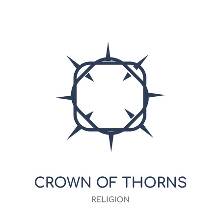 Crown of thorns icon. Crown of thorns linear symbol design from Religion collection. Simple outline element vector illustration on white background.