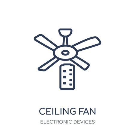 icono de ventilador de techo. diseño de colección de dispositivos electrónicos en ventilador de techo símbolo lineal.