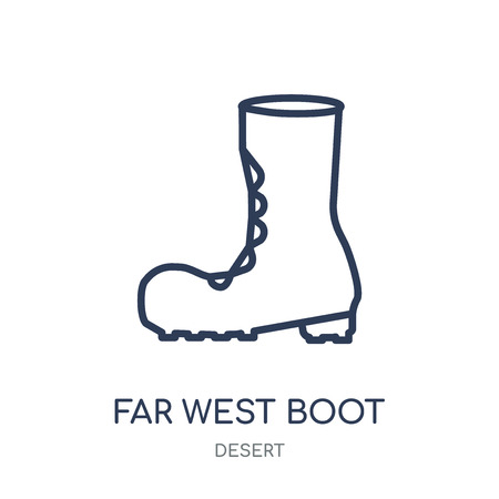 far west Boot icon. far west Boot linear symbol design from Desert collection. Simple outline element vector illustration on white background.