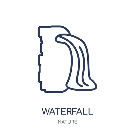 Waterfall icon. Waterfall linear symbol design from Nature collection. Simple outline element vector illustration on white background.