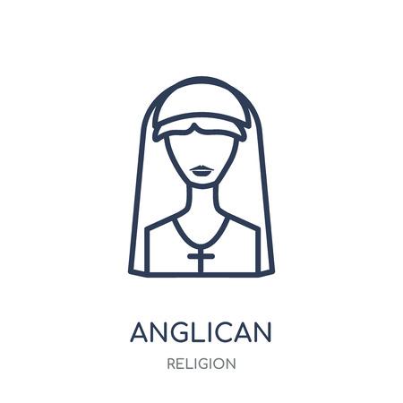 Anglikanisches Symbol. Anglikanisches lineares Symboldesign aus der Religionssammlung. Einfache Entwurfselementvektorillustration auf weißem Hintergrund. Vektorgrafik