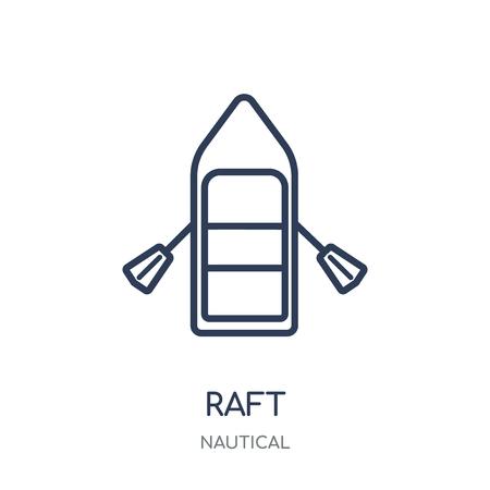 Icône de radeau. Conception de symbole linéaire de radeau de la collection nautique. Illustration vectorielle de contour simple élément sur fond blanc.
