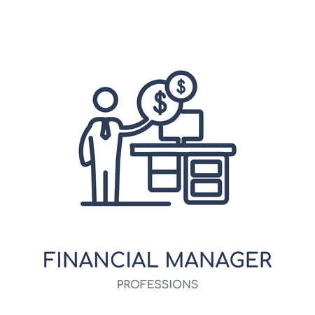 Financial Manager icon. Financial Manager linear symbol design from Professions collection. Simple outline element vector illustration on white background. 向量圖像