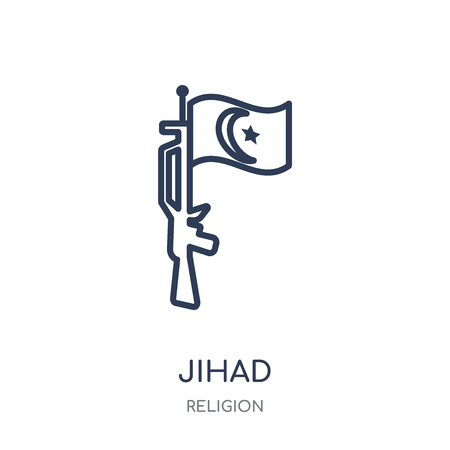 jihad icon. jihad linear symbol design from Religion collection. Simple outline element vector illustration on white background.