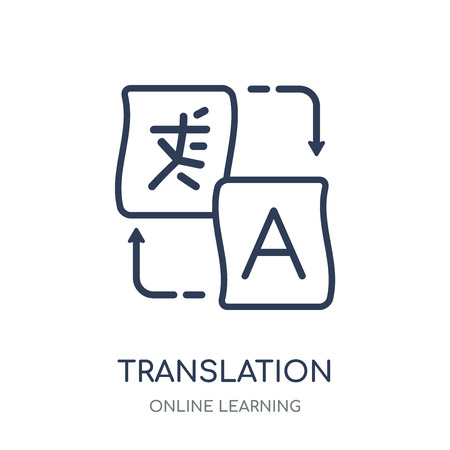 Translation icon. Translation linear symbol design from Online learning collection. Stock Illustratie