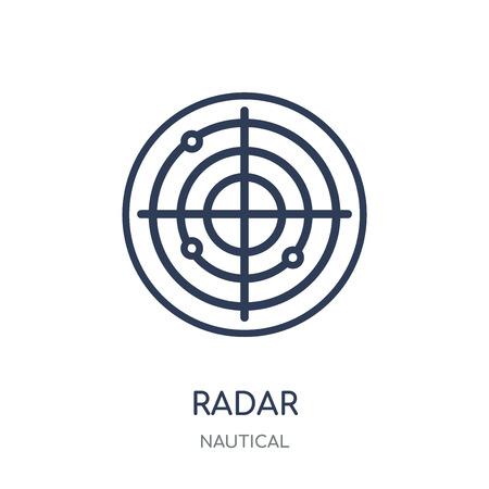Icono de radar. Diseño de colección náutica en radar símbolo lineal. Ilustración de vector de elemento de contorno simple sobre fondo blanco.