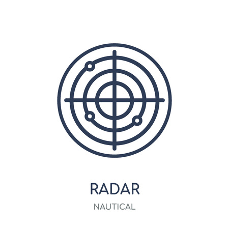 Radar icon. Radar linear symbol design from Nautical collection. Simple outline element vector illustration on white background.