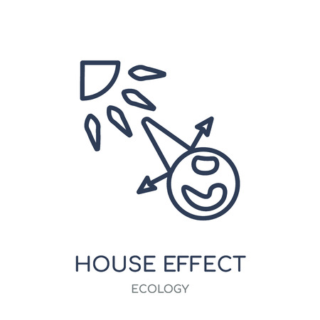 Greenhouse effect icon. Greenhouse effect linear symbol design from Ecology collection. Simple outline element vector illustration on white background.