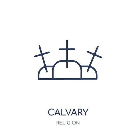 Calvary icon. Calvary linear symbol design from Religion collection. Simple outline element vector illustration on white background. Фото со стока - 111821358