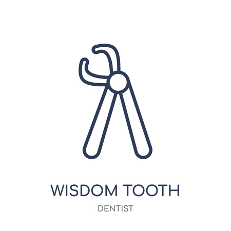 Wisdom tooth icon. Wisdom tooth linear symbol design from Dentist collection. Simple outline element vector illustration on white background.
