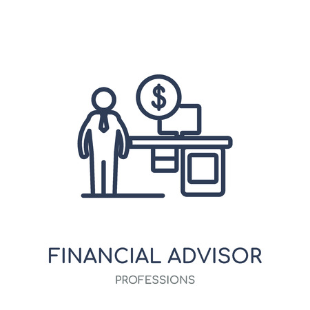 Financial Advisor icon. Financial Advisor linear symbol design from Professions collection. Simple outline element vector illustration on white background.