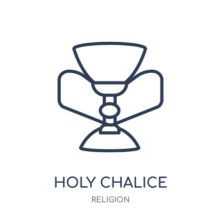 Holy chalice icon. Holy chalice linear symbol design from Religion collection. Simple outline element vector illustration on white background.