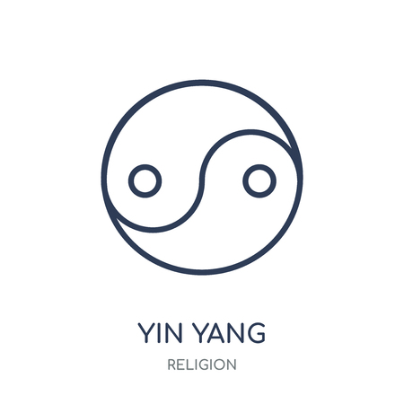 Yin Yang icon. Yin Yang linear symbol design from Religion collection. Simple outline element vector illustration on white background.