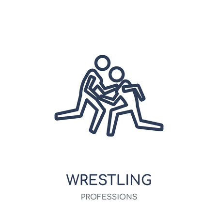 Wrestling icon. Wrestling linear symbol design from Professions collection. Simple outline element vector illustration on white background.