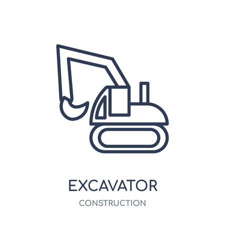 Excavator icon. Excavator linear symbol design from Construction collection. Simple outline element vector illustration on white background.