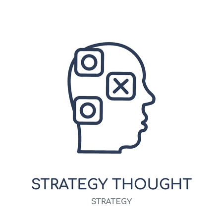 Strategy thought icon. Strategy thought linear symbol design from Strategy collection. Simple outline element vector illustration on white background.