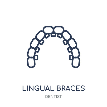 Lingual braces icon. Lingual braces linear symbol design from Dentist collection. Simple outline element vector illustration on white background.
