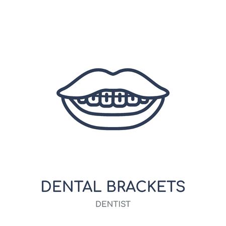Dental Brackets icon. Dental Brackets linear symbol design from Dentist collection. Simple outline element vector illustration on white background. Illustration