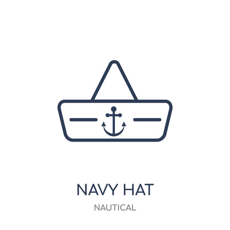 Navy Hat icon. Navy Hat linear symbol design from Nautical collection. Simple outline element vector illustration on white background. Illusztráció