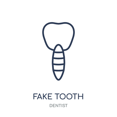 Fake Tooth icon. Fake Tooth linear symbol design from Dentist collection. Simple outline element vector illustration on white background. Standard-Bild - 111820908