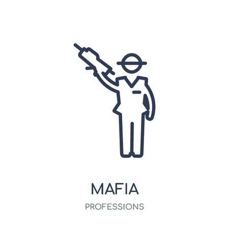 Mafia icon. Mafia linear symbol design from Professions collection. Simple outline element vector illustration on white background. Illustration