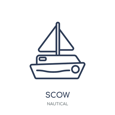 scow icon. scow linear symbol design from Nautical collection. Simple outline element vector illustration on white background. Vettoriali
