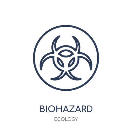 Biohazard icon. Biohazard linear symbol design from Ecology collection. Simple outline element vector illustration on white background.