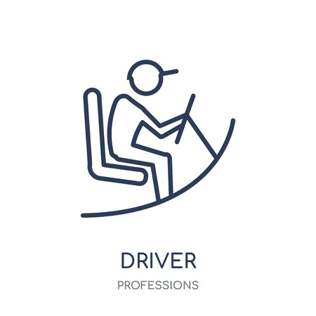 Driver icon. Driver linear symbol design from Professions collection. Simple outline element vector illustration on white background. Stock Vector - 111820794