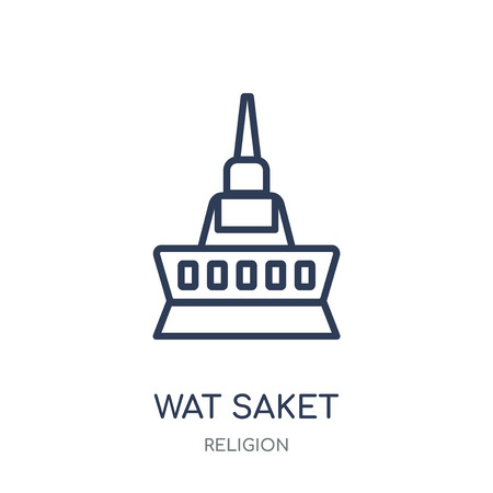 Wat saket icon. Wat saket linear symbol design from Religion collection. Simple outline element vector illustration on white background.
