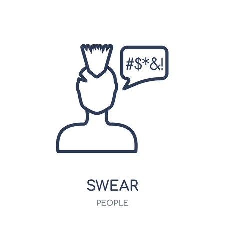 Swear icon. Swear linear symbol design from People collection. Simple outline element vector illustration on white background.