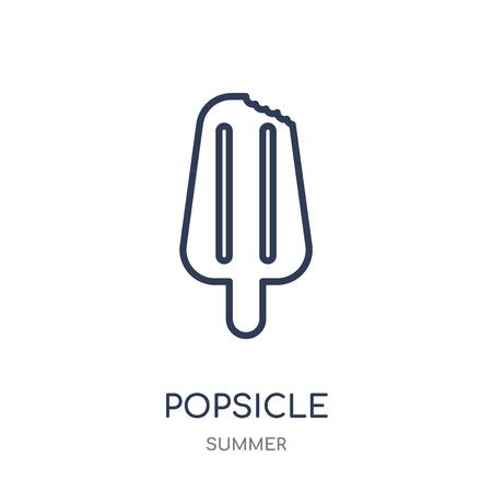 Eis am Stiel-Symbol. Eis am Stiel lineares Symboldesign aus der Sommerkollektion. Einfache Entwurfselementvektorillustration auf weißem Hintergrund. Vektorgrafik