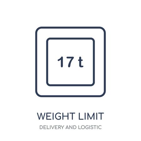 icône de limite de poids. conception de symbole linéaire de limite de poids de la livraison et de la collection logistique. Vecteurs