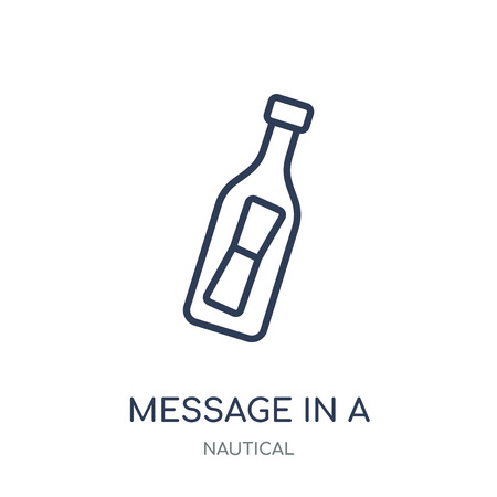 Message In a Bottle icon. Message In a Bottle linear symbol design from Nautical collection. Simple outline element vector illustration on white background. Vettoriali