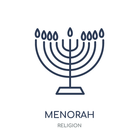 Menorah icon. Menorah linear symbol design from Religion collection. Simple outline element vector illustration on white background. Ilustracja