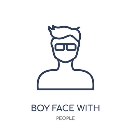 Boy face with glasses icon. Boy face with glasses linear symbol design from People collection. Simple outline element vector illustration on white background.