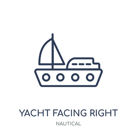 Yacht Facing Right icon. Yacht Facing Right linear symbol design from Nautical collection. Simple outline element vector illustration on white background.